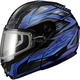 Black/Blue GM64S Carbide Modular Snowmobile Helmet w/Dual Lens Shield