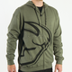 Split Military Green Zip-Up Hoody