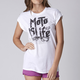 Womens White Shout Out Short Sleeve Shirt