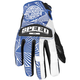 Womens Blue/White Leather and Mesh Throttle Gloves