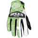 Womens Green/White Leather and Mesh Throttle Gloves