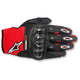 Black/Red/White Megawatt Hard Knuckle Gloves