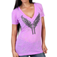 Women's Purple Young Guns Burnout V-Neck T-Shirt