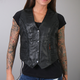 Women's Black Leather Vest