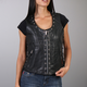 Women's Black Lambskin Vest