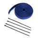 Blue 1in. x 50ft. Exhaust Pipe Wrap W/ Black Tie Wraps - CPP/9067B