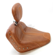 Brown Vinyl Solo Seat w/Brown Leather Inserts, Driver's Backrest and Nickel Studs - 79528