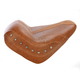 Brown Vinyl Vintage Solo Seat w/Brown Leather Inserts and Nickel Studs - 75391