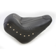 Black Vinyl Vintage Solo Seat aw/Black Leather Inserts and Chrome Studs - 75392