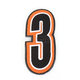 Orange/Black 5 in. Number 3 Patch For Gear Bags - 3550-0230