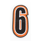 Orange/Black 5 in. Number 6 Patch For Gear Bags - 3550-0233