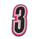Pink/Black 5 in. Number 3 Patch For Gear Bags - 3550-0250