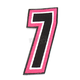 Pink/Black 5 in. Number 7 Patch For Gear Bags - 3550-0254