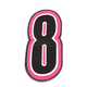 Pink/Black 5 in. Number 8 Patch For Gear Bags - 3550-0255