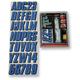 Blue 3-D Dome Decal Number Kit - BLBLK800D
