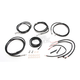 Black Vinyl/Stainless Braided Complete Handlebar Cable and Brake Line Kit for use w/Mini Ape Hangers - LA-8053KT2-08B