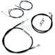 Black Vinyl Handlebar Cable and Brake Line Kit for Use w/Beach Bars/Extra Wide or Extra Wide w/Pullback Handlebars - LA-8006KT-04B
