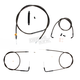 Midnight Stainless Handlebar Cable and Brake Line Kit for Use w/Mini Ape Hangers - LA-8110KT-08M