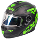 Black/Lime/Charcoal Fuel Modular Elite Helmet w/Electric Shield