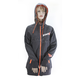 Women's Charcoal Heather/Electric Tangerine Vertical Long Hoody