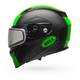 Matte Black/Green Revolver EVO Rally Snow Helmet w/Dual Lens Shield