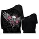 Womens Winged Skull Banner Off the Shoulder Shirt