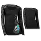 Womens Peacock Feather Skull Long Sleeve Shirt