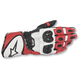 Black/White/Red GP Plus R Leather Gloves