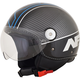 Gloss Black/Blue Veloce FX-33 Scooter Helmet