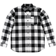 Black/White Explicit Long-Sleeve Flannel Shirt