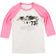 White/Pink Womens Number 1 Raglan-Sleeve Tee Shirt