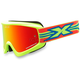 Fluorescent Yellow GOX Flat Out Goggles w/Red Mirror Lens - 067-10385