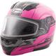 Hi-Vis Pink/Black MD04 Quadrant Modular Snow Helmet w/Dual Lens Shield