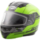Hi-Vis Green/Black MD04 Quadrant Modular Snow Helmet w/Dual Lens Shield