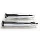 Chrome 3 in. Slip-On Mufflers w/Black Straight End Caps - 500-0400
