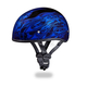 Blue Multi Flames Skull Cap Half Helmet