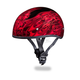 Red Multi Flames Skull Cap Half Helmet