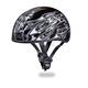 Silver Multi Flames Skull Cap Half Helmet