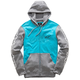 Turquoise/Gray Heather Machine Fleece Hoody