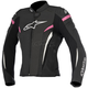 Womens Black/White/Fuchsia Stella GP Plus R v2 Airflow Leather Jacket