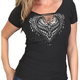 Women's Black Cut-Out Ornate Angel Wings T-Shirt