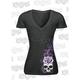 Women's Corset Winged Skull Burnout T-Shirt