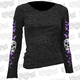 Womens Butterfly Skull Burnout Long Sleeve Shirt