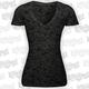 Womens Skull Burnout V-Neck T-Shirt
