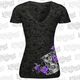 Womens Hourglass Skull Burnout T-Shirt