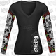 Womens D.O.D. Rose Skull Tattoo Sleeve Shirt