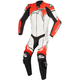 White/Black/Flo Red GP Plus 1-Piece Leather Racing Suit