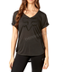 Women's Black Vintage Responded V-Neck T-Shirt