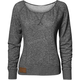 Womens Gray Simplicity Off The Shoulder Long Sleeve Crew Shirt