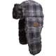 Black Plaid Trapper Fur Hat - 509-HAT-FTB